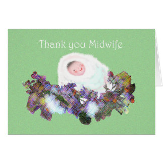 Thank you Midwife, baby and flower garland. Card