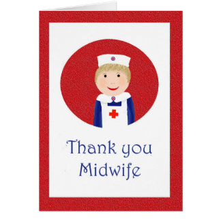 Thank you Midwife, Nurse with apron and cap Card