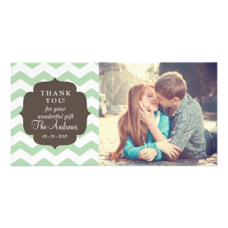 Thank You Mint Chevron Stripes Card