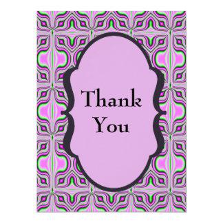 "Thank You Mod Pink Mauve 6.5"" X 8.75"" Invitation Card"