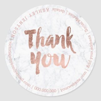 thank you modern faux rose gold typography marble classic round sticker