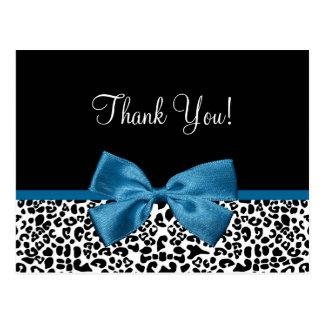 Thank You Modern Leopard Mykonos Blue Ribbon Postcard