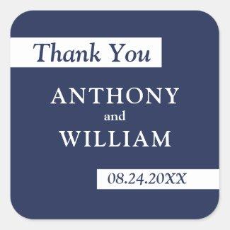 Thank You Modern Navy Blue White Geometric Wedding Square Sticker