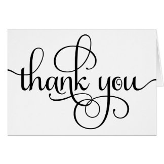 Thank You Modern Stylish Elegant Script Card
