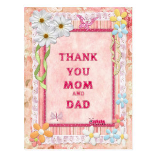 Thank you mom and dad, flowers craft card postcard