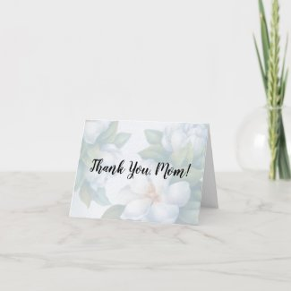 Thank You Mom Faded White Dogwood Blossoms Holiday Card