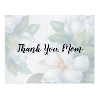 Thank You Mom Faded White Dogwood Blossoms Postcard