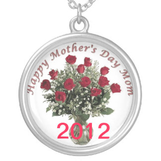 thank you mom happy Mother's day 2012 Silver Plated Necklace