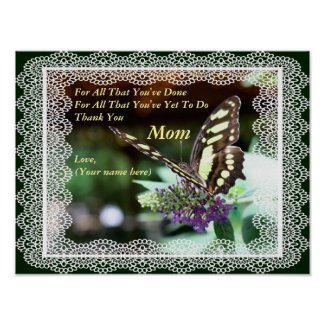 Thank You Mom I Love You Butterfly Nature Poster