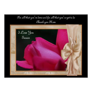 Thank You Mom Rosebud Personalized Poster Print