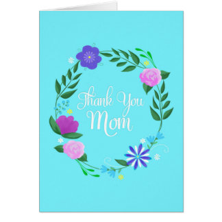 thank you mom with wreath of painted flowers card