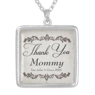 Thank You Mommy Personalized Message Necklace