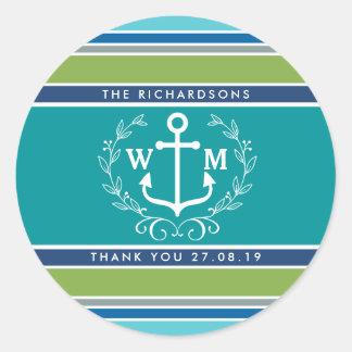 Thank You Monogram Anchor Laurel Wreath Stripes Classic Round Sticker