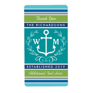 Beach Themed Thank You Monogram Anchor Laurel Wreath Stripes Label