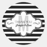 Thank You Monogram Black & White Stripes Pattern Classic Round Sticker
