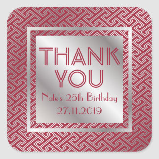 Thank You Monogram Red Silver Pattern Party Favor Square Sticker