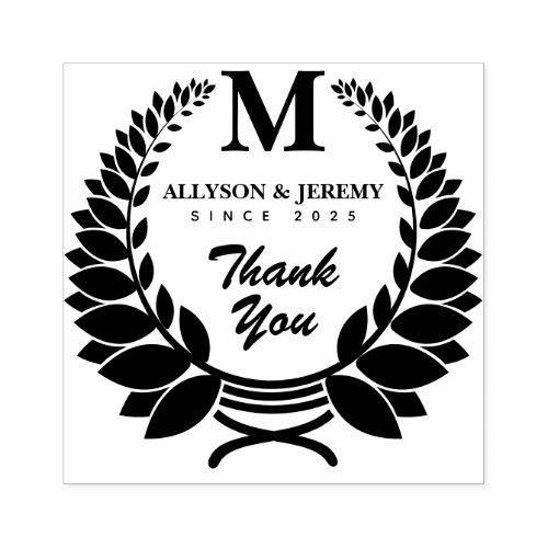 Thank You Monogram Traditional Laurel Wreath Favor Rubber Stamp