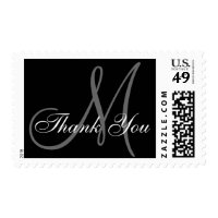Thank You Monogram Wedding Black USPS Postage