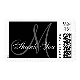 Thank You Monogram Wedding Black USPS Postage