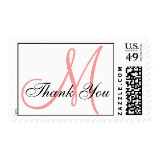Thank You Monogram Wedding Coral USPS Postage