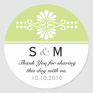 Thank You Monogram Wedding Favor Labels sticker