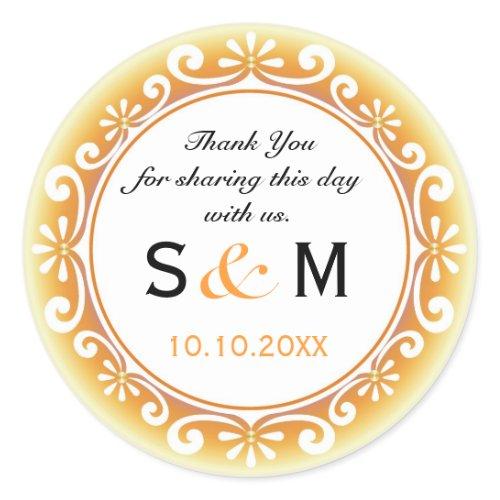 Thank You Monogram Wedding Favor Labels-Swirls Classic Round Sticker