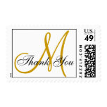 Thank You Monogram Wedding Gold USPS Postage