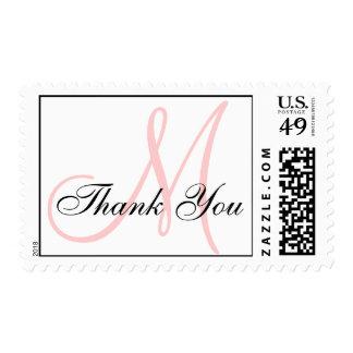 Thank You Monogram Wedding Pink USPS Postage