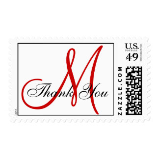 Thank You Monogram Wedding Red White Postage