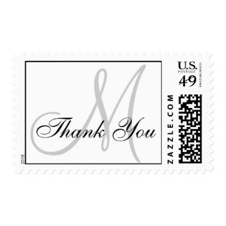 Thank You Monogram Wedding White USPS Postage