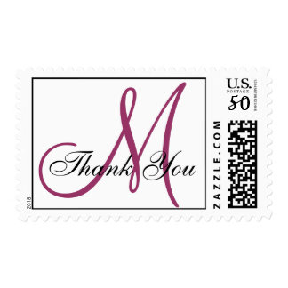Thank You Monogram Wedding Wine White Postage