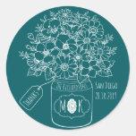 Thank You Monogram Wildflowers Bouquet Mason Jar Classic Round Sticker
