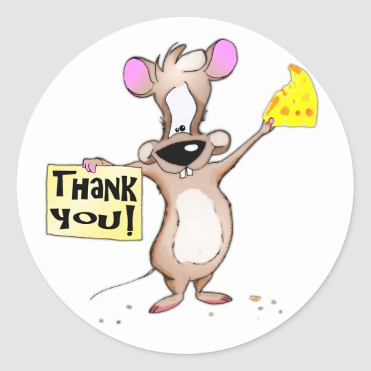 Thank You Mouse Classic Round Sticker