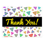 """[ Thumbnail: """"Thank You!"""" + Multicolored Triangles Pattern Postcard ]"""