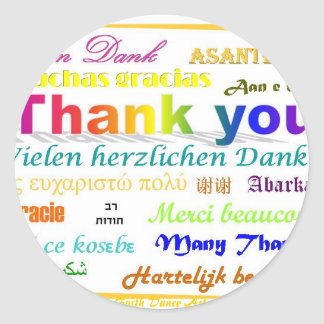 Thank You - multilingual Classic Round Sticker
