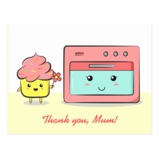 Thank you mum - Cute cupcake and pink oven Postcards
