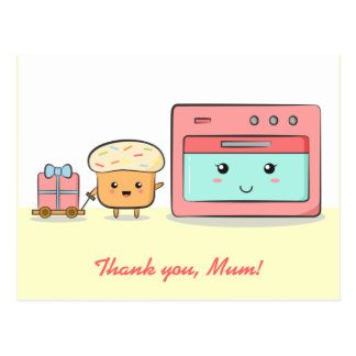 Thank you mum - Cute cupcake and pink oven Postcard