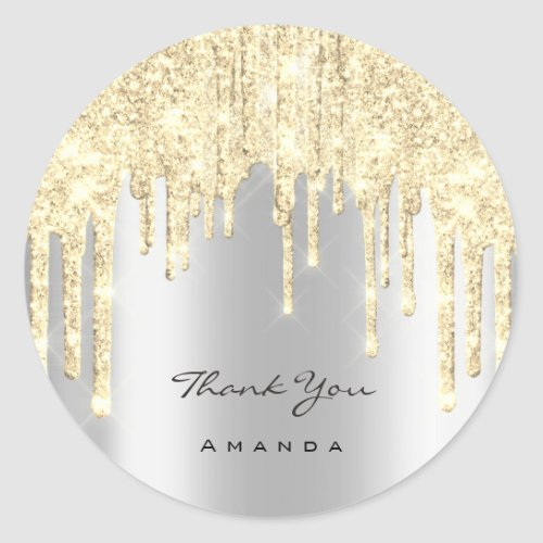 Thank You Name 16th Bridal Gray Gold Glitter Spark Classic Round Sticker