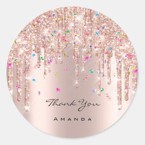 Thank You Name 16th Bridal Rose Glitter Confetti Classic Round Sticker