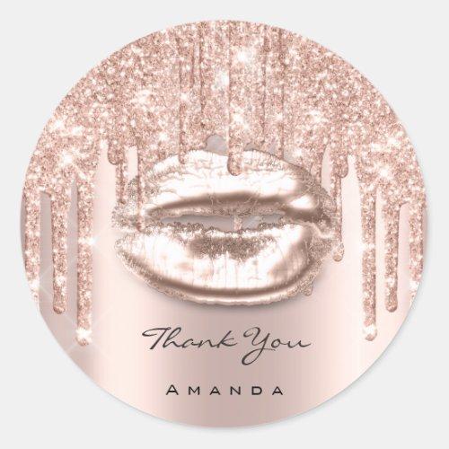 Thank You Name 16th Bridal Rose Glitter Kiss Lips Classic Round Sticker
