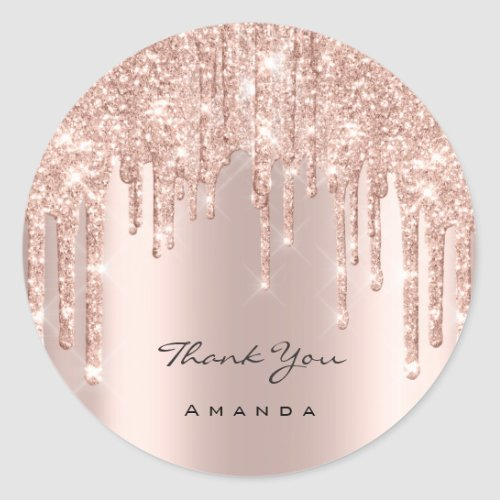 Thank You Name 16th Bridal Rose Glitter Spark Classic Round Sticker