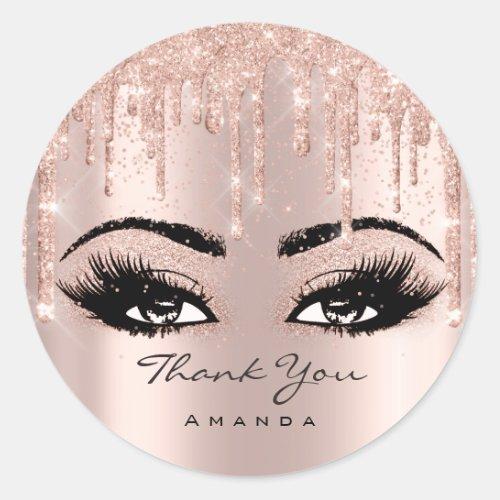 Thank You Name Confetti Rose Glitter Eyelash Classic Round Sticker