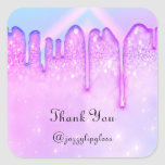 """Thank You Name Drip Favor Pink Blue Glitter Square Sticker<br><div class=""""desc"""">This is simply a modern tool that helps you to attract clients to your business and make your business grow florenceKdesig@gmail.com Have a special day!  FlorenceK design</div>"""