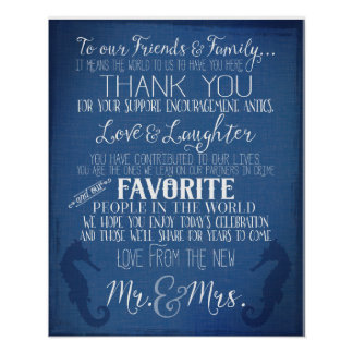 thank you nautical navy blue wedding peony sign