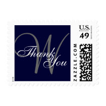 Thank You Navy Blue Gray Monogram Postage