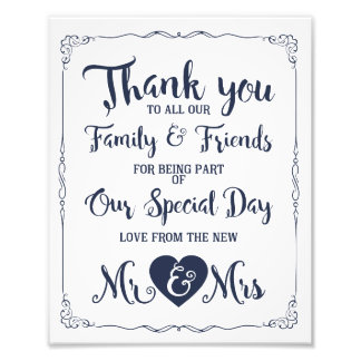 thank you navy nautical wedding sign photo print