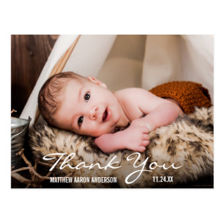 Thank You New Baby Photo Announcement Postcard BW