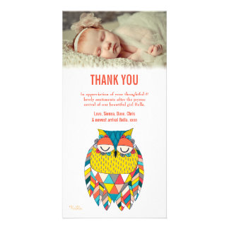 Thank You Note Aztec Baby Owl Photo Card Template