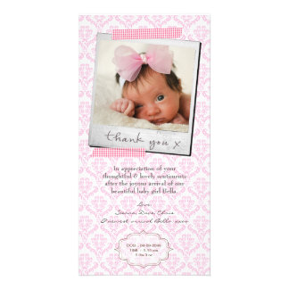 Thank You Note Baby Girl Announcement Template Photo Card