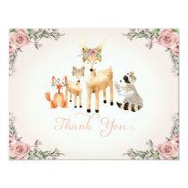 Thank You Note Baby Girl Woodland Deer fox Raccoon Invitation